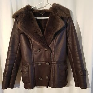 Le Chateau dark brown fur lined coat
